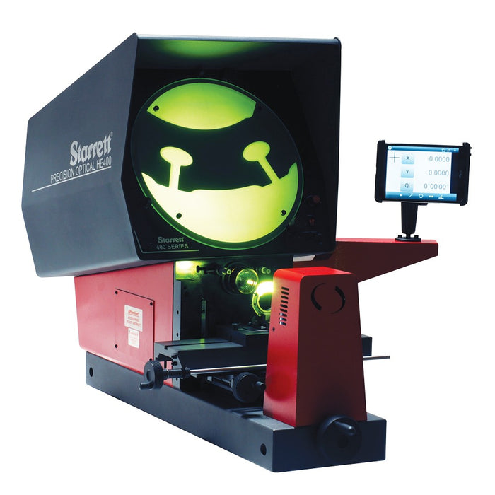 "The HE400 is Starrett's most economical bench top comparator.  This model offers a 16"" diameter screen, includes a 10x magnification lens, supports a stage travel of 10 x 4"", Q-axis angular readout, and Metologix M1 software on a touch screen tablet-based readout. Various readout and software options are available."