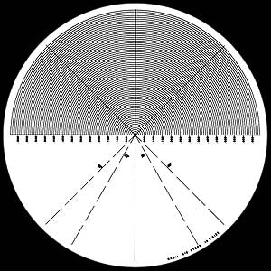 180° Radius Chart with 30° and 45° Angles - No. 11 - Optical Comparator Chart