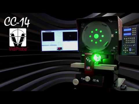 "The CC-14 by Certified Comparator Products is a high-quality benchtop optical comparator that includes telecentric optics with corrected images (erect and reversed), a 16"" (406 mm) screen with full 14"" (356 mm) viewing area, ground glass screen with 90° Centerline, and a 3 position internal magnification lens changing system.  Additionally, the TruLight™ monochromatic variable intensity LED profile illumination will ensure every feature is visible."
