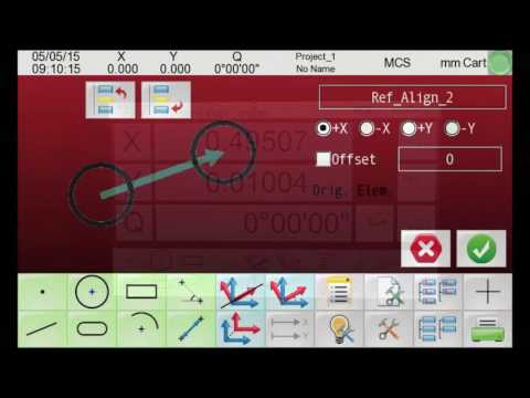The QVI Q-Touch Digital Readout is a compact and advanced color graphics touchscreen controller offering multi-function geometric measurements and constructions. It is designed to be completely integrated with any QVI optical comparator. It cannot be used as a standalone unit. Q-Touch has a bright, easily readable display in all light conditions, and can be used with the EdgeScan internal automatic edge detection system.