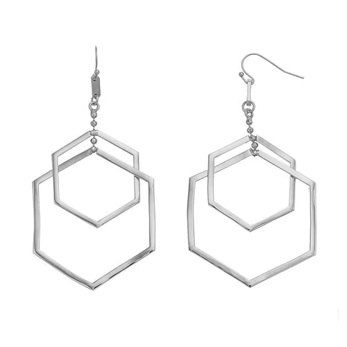 Force - Double Drop Earrings : Silver