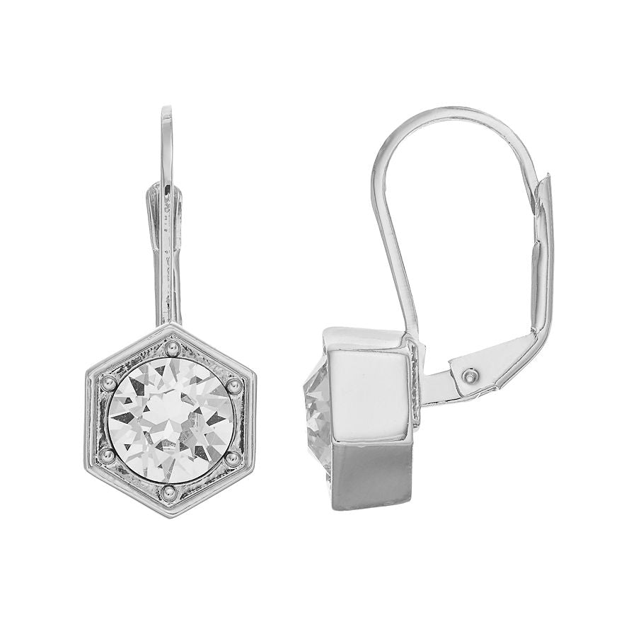 Hexagon - Drop Earrings : Silver