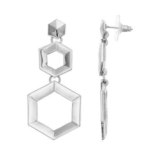 Edge - Drop Earrings : Silver