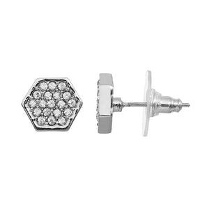 Hexagon - Pavé Stud Earrings : Silver
