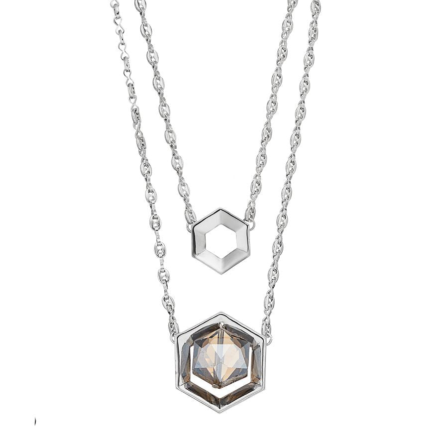 Multistrand Hexagon Necklace - Silver