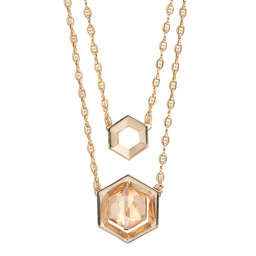 Multistrand Hexagon Necklace - Gold