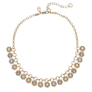 Hexagon - Collar Necklace : Gold Multi