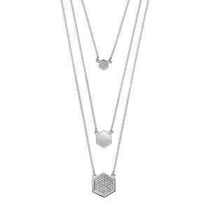 Hexagon - Multistrand Necklace : Silver