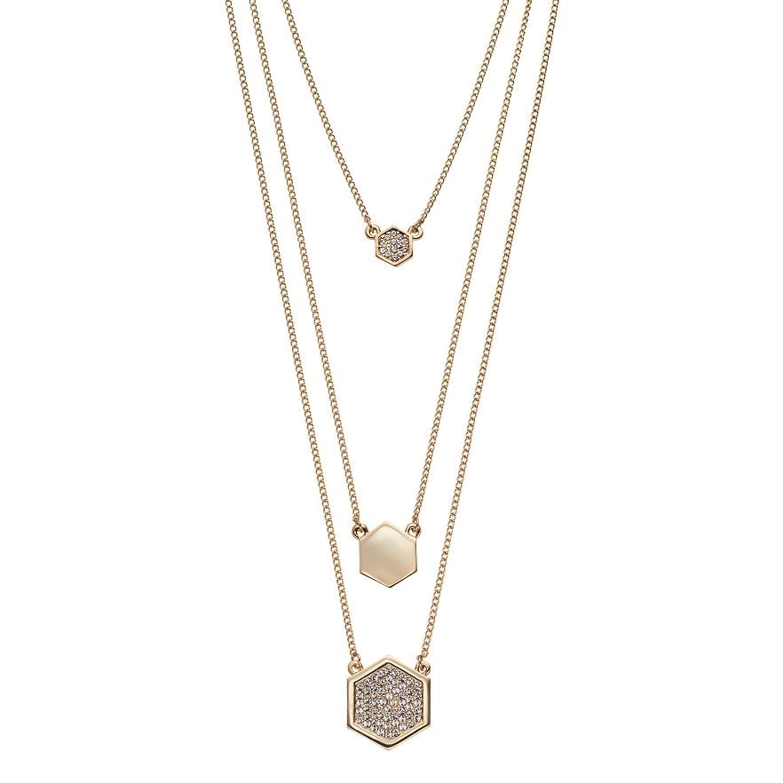 Hexagon - Multistrand Necklace : Gold