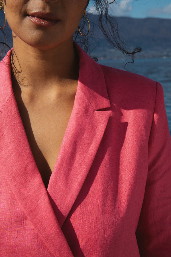 veste-memento-rose-lin-poches-boutons-col-oeko