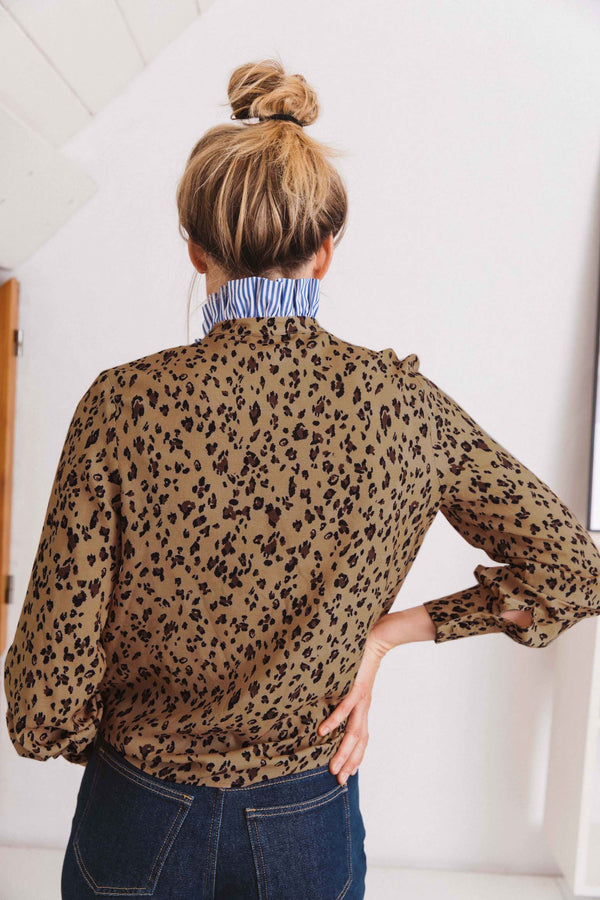 chemise-mina-imprime-leopard-col-rayures