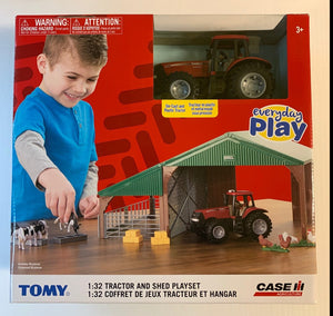 TOMY EVERYDAY PLAY CASE AGRICULTURE 1:32 TRACTOR AND SHED PLAYSET