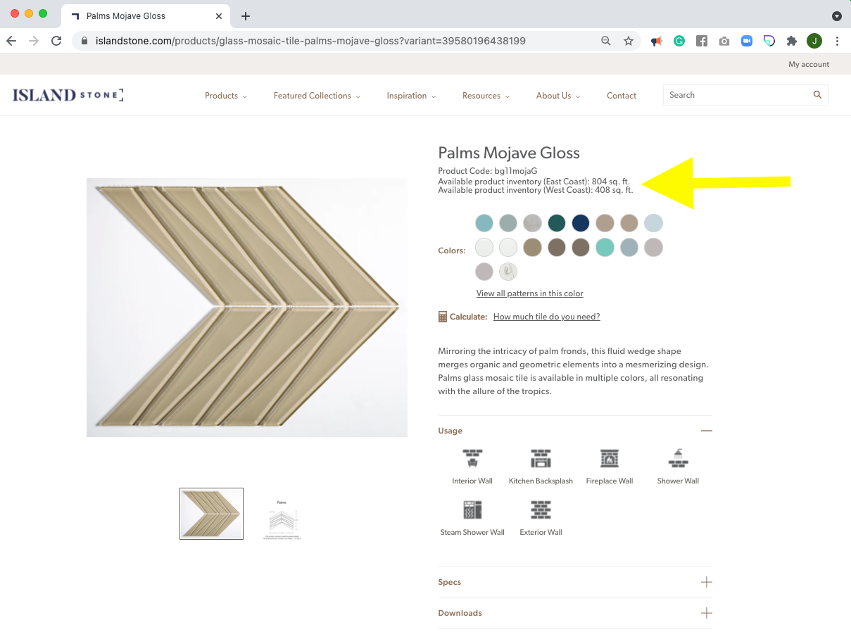Screenshot of an Island Stone product page Palms Mojave Gloss with the inventory levels circled