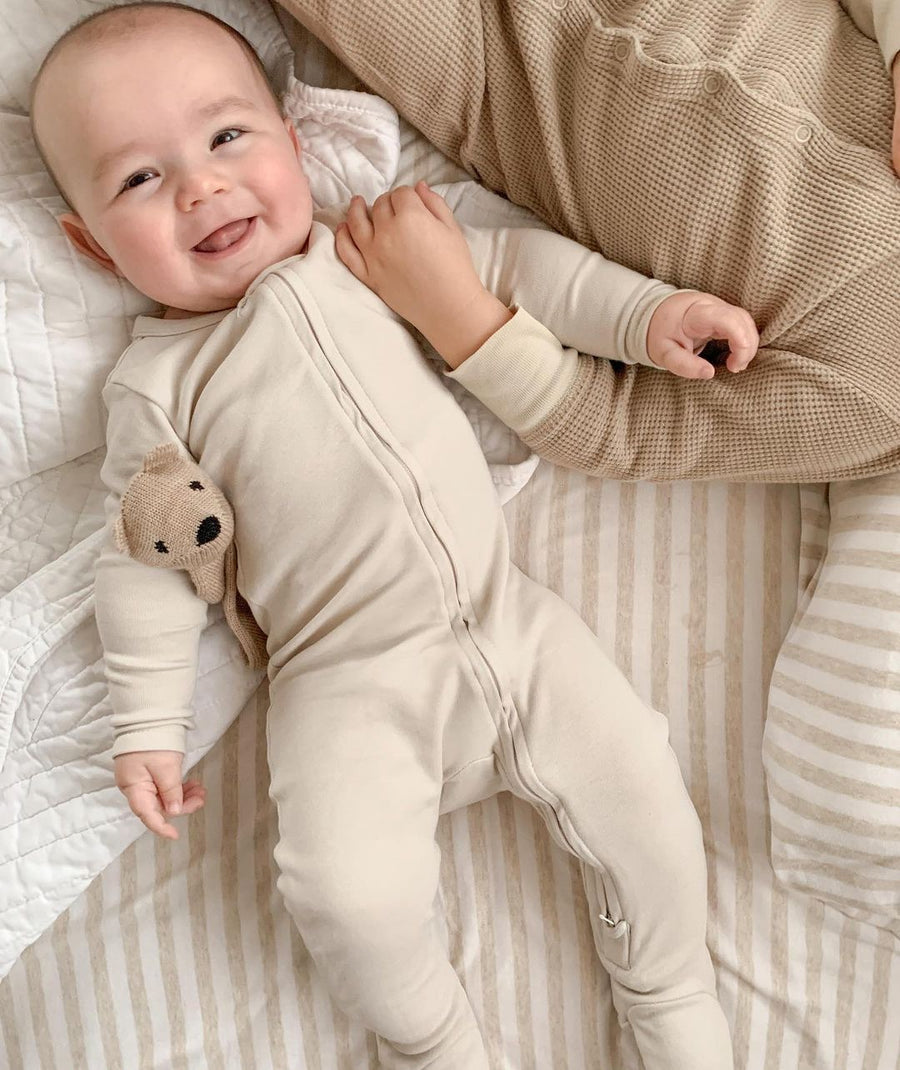 Organic Cotton Zip Babygrow (Oatmeal)