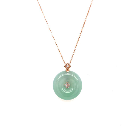 SOLD OUT: A-Grade Natural Green Jadeite Donut Bespoke Pendant (18k rose gold with diamonds) No.171107