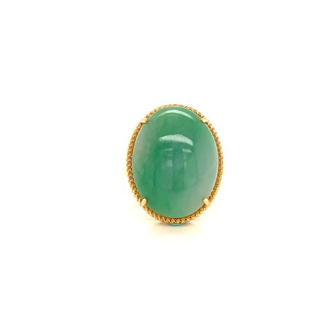 A-Grade Natural Green Jadeite Bespoke Ring (18k Champagne Gold) No.161410