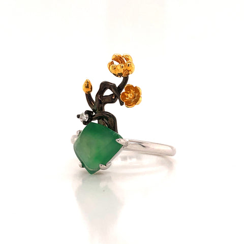 A-Grade Natural Jadeite Bonsai Ring (18k Black Gold, Yellow Gold, White Gold & Diamonds) No.161423