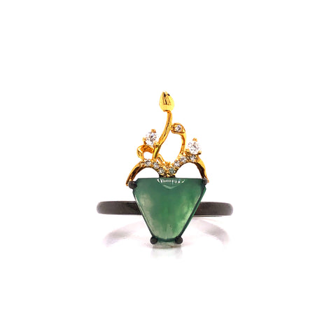 A-Grade Natural Jadeite Bonsai Ring (18k Black Gold, Yellow Gold & Diamonds) No.161422