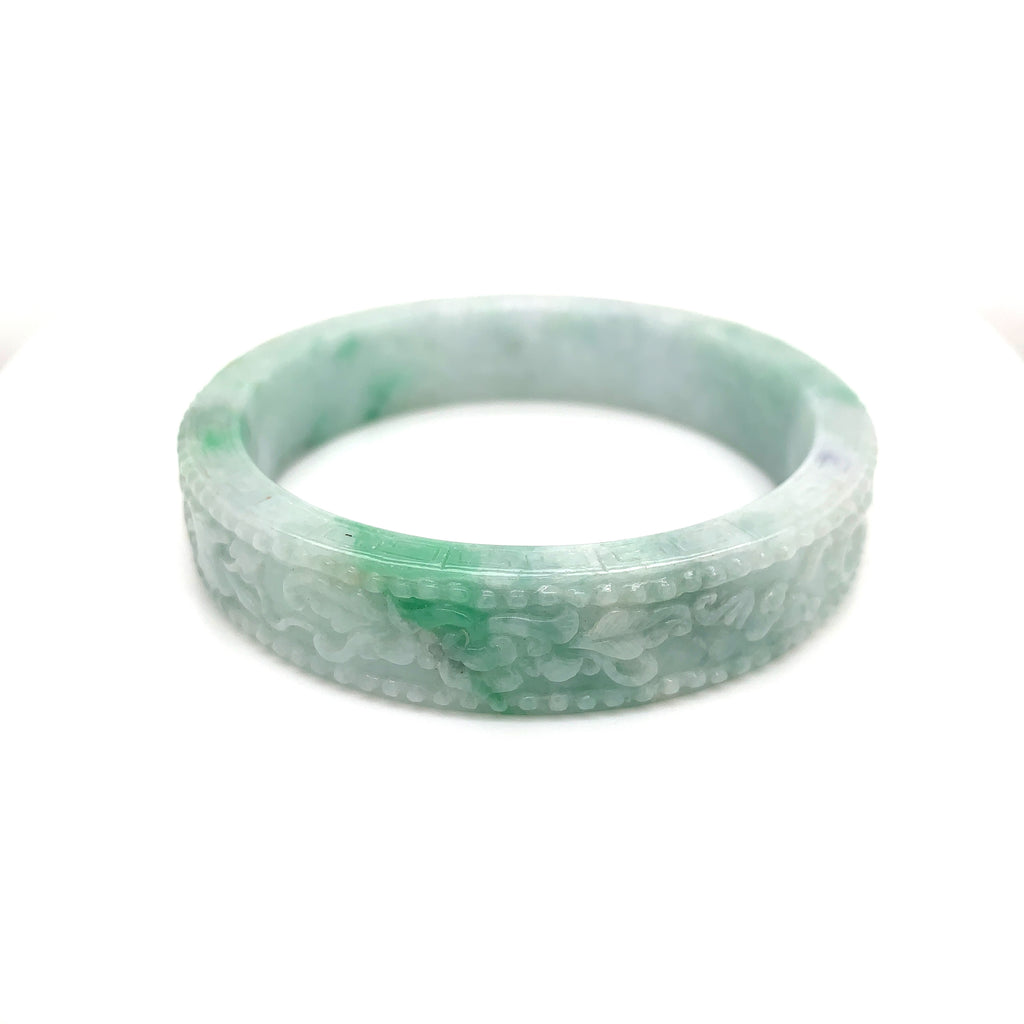 58.2mm A-Grade Natural Jadeite Floral Carvings Modern Round Bangle No.330023
