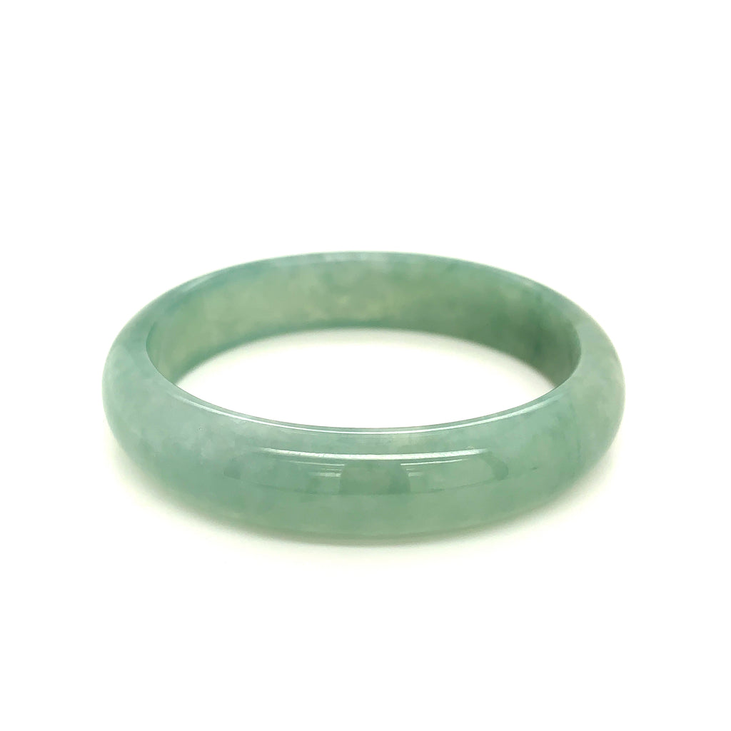 51.7mm A-Grade Natural Green Jadeite Modern Oval Bangle No.151583
