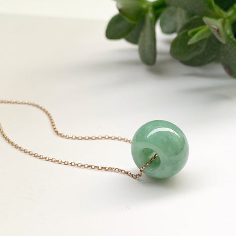 A-Grade Natural Green Jadeite Barrel Pendant No.220289