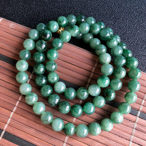 SOLD OUT: 10.7mm A-Grade Type A Natural Floral Imperial Green Jadeite Jade Beaded Bracelet/ Necklace No.190067