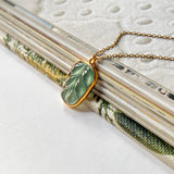 Icy A-Grade Jadeite Bespoke Leaf Pendant (18k Champagne Gold) No.171584