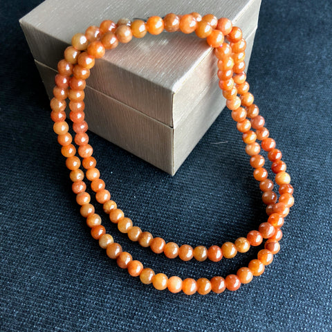 SOLD OUT: 5mm A-Grade Type A Natural Red Jadeite Jade Mini Beaded Bracelet/ Necklace No.190061
