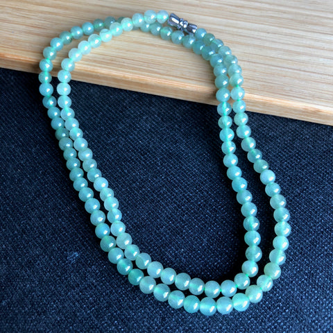4.8mm Icy A-Grade Type A Natural Jadeite Jade Light Green Beaded Bracelet/ Necklace No.190060