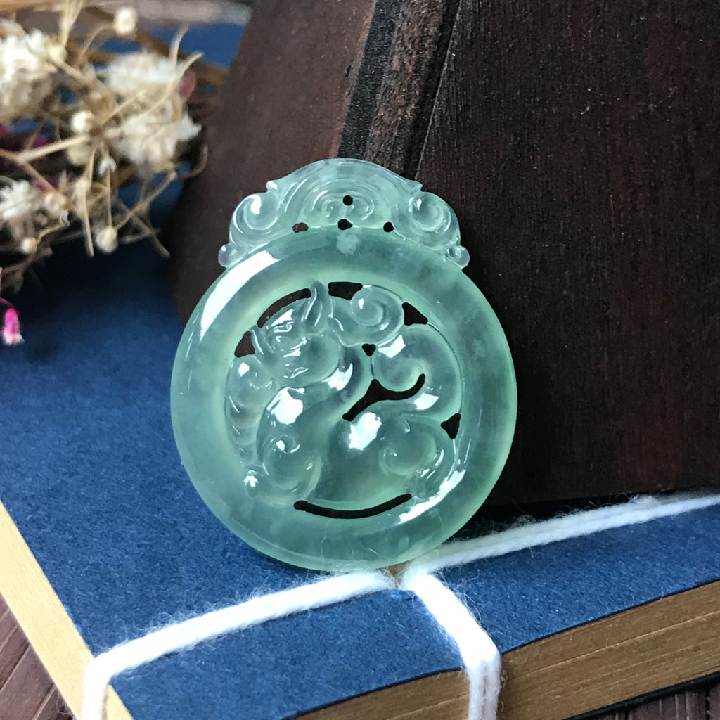 SOLD OUT: Icy A-Grade Type A Natural Green Jadeite Jade Pixiu Pendant No.170320
