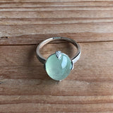 SOLD OUT: Icy Green A-Grade Type A Natural Jadeite Jade Cabochon Ring (18k White Gold with Diamonds) No.161268