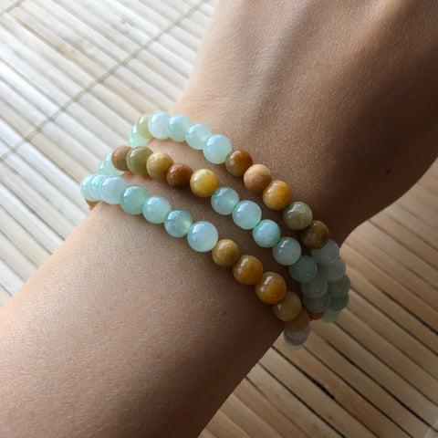 SOLD OUT: 5.4mm A-Grade Type A Natural Jadeite Jade Multi-Colour Beaded Bracelet/ Necklace No.190062