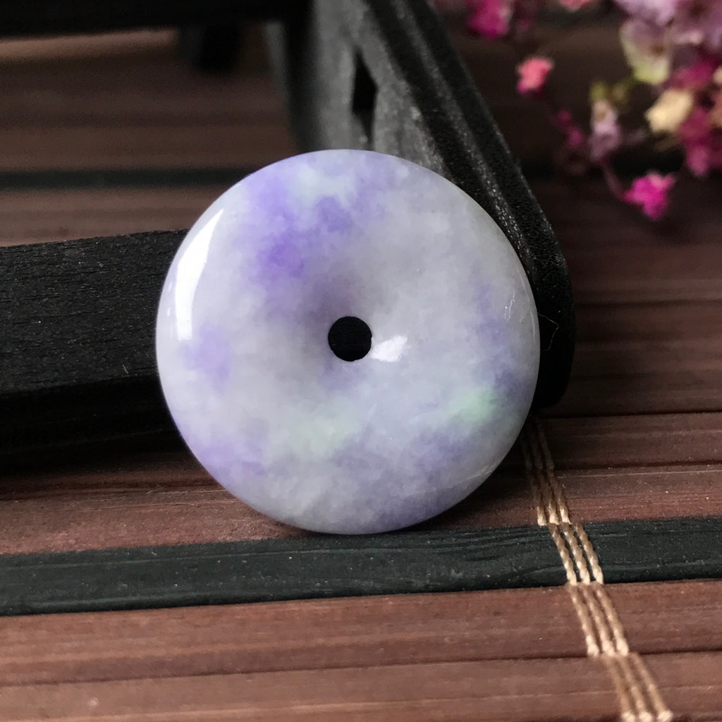 SOLD OUT: A-Grade Type A Natural Purple Jadeite Jade Donut Pendant No.170303
