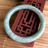SOLD OUT: 53.1mm A-Grade Type A Light Green Natural Jadeite Jade Traditional Round Bangle No.151442