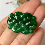 A-Grade Natural Imperial Green Jadeite Eternity Knot Pendant No.171264