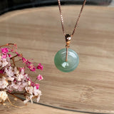 SOLD OUT: Icy A-Grade Type A Natural Green Jadeite Jade Bespoke Donut Pendant (18k Rose Gold) No.170384