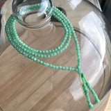 SOLD OUT: 3.9mm A-Grade Type A Natural Green Jadeite Jade Beaded Beaded Bracelet/ Necklace No.190074