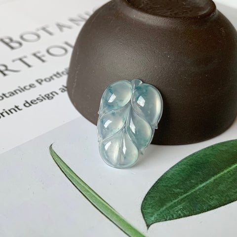 Icy A-Grade Natural Floral Blue Jadeite Leaf Pendant No.170779