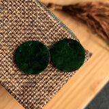 SOLD OUT:A-Grade Type A Natural Dark Green Jadeite Jade Round Earrings No.180055