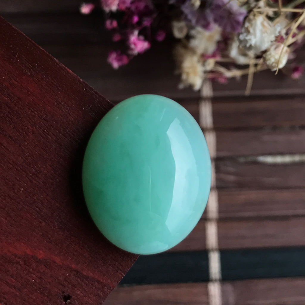 A-Grade Type A Natural Green Jadeite Jade Oval Cabochon No.130005