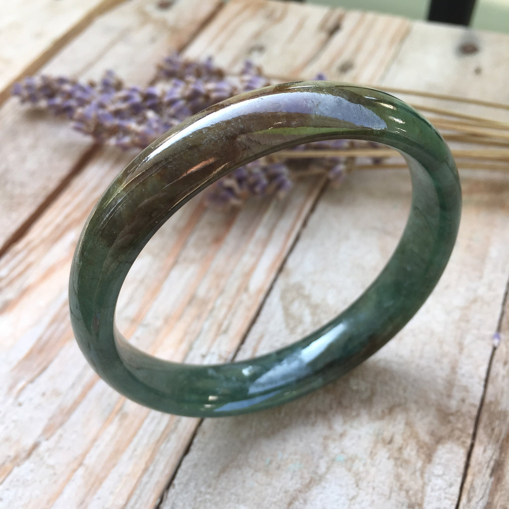 SOLD OUT: 54.8mm A-Grade Type A Jadeite Jade Modern Round Bangle No.151050