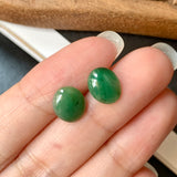 A-Grade Natural Green Jadeite Oval Cabochon Pair No.180258
