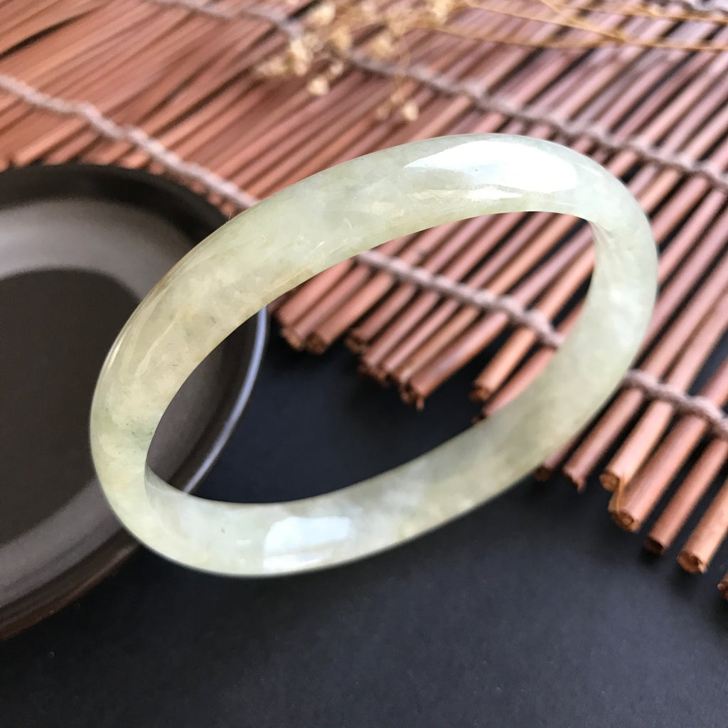 58mm Icy A-Grade Type A Natural Jadeite Jade Modern Oval Bangle No.151008