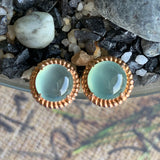 Highly Icy A-Grade Type A Natural Green Jadeite Jade Circle Cabochon Stud Earring No.180098