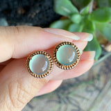 SOLD OUT: Highly Icy A-Grade Type A Natural Green Jadeite Jade Circle Cabochon Stud Earring No.180098