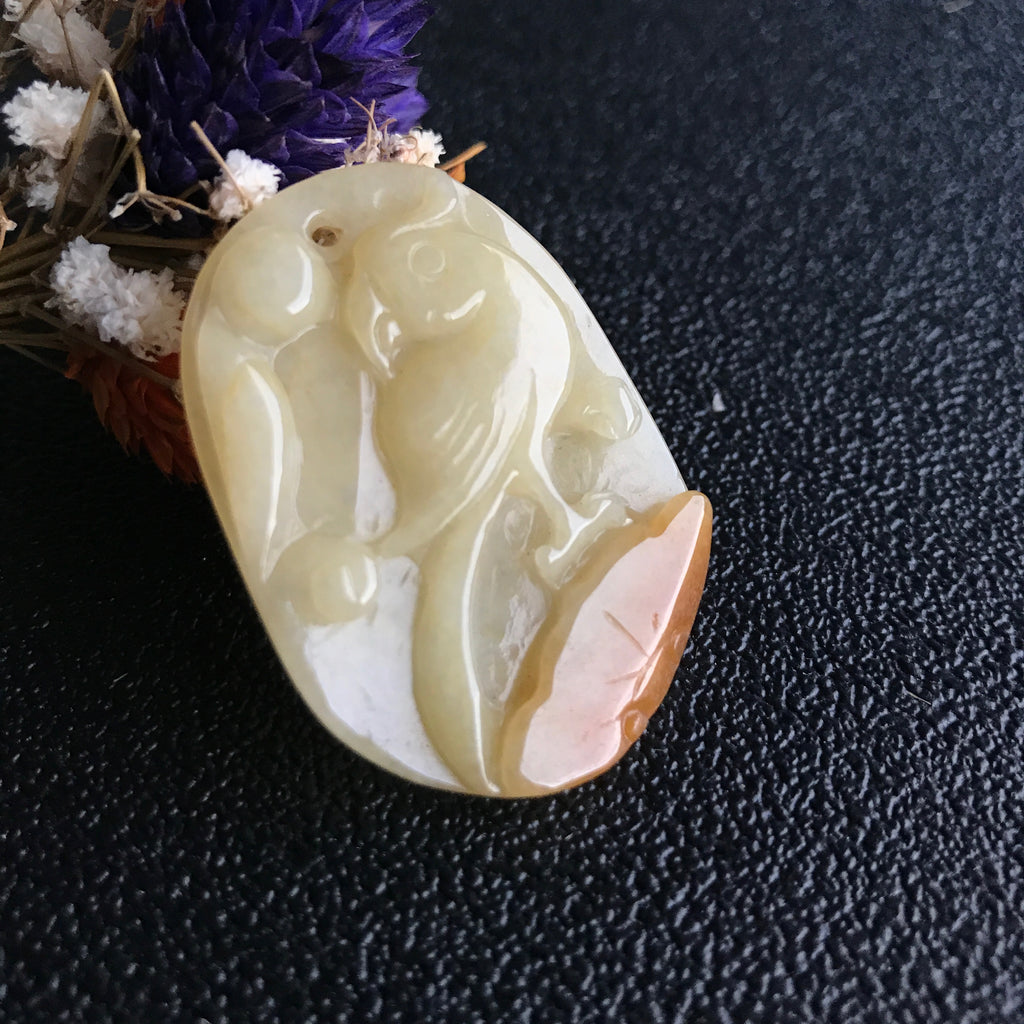 SOLD OUT: A-Grade Type A Natural Jadeite Jade Parrot Pendant No.170276
