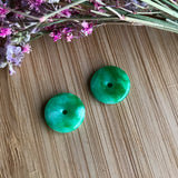 SOLD OUT: A-Grade Type A Natural Green Jadeite Jade Mini Donut Earrings No.180054