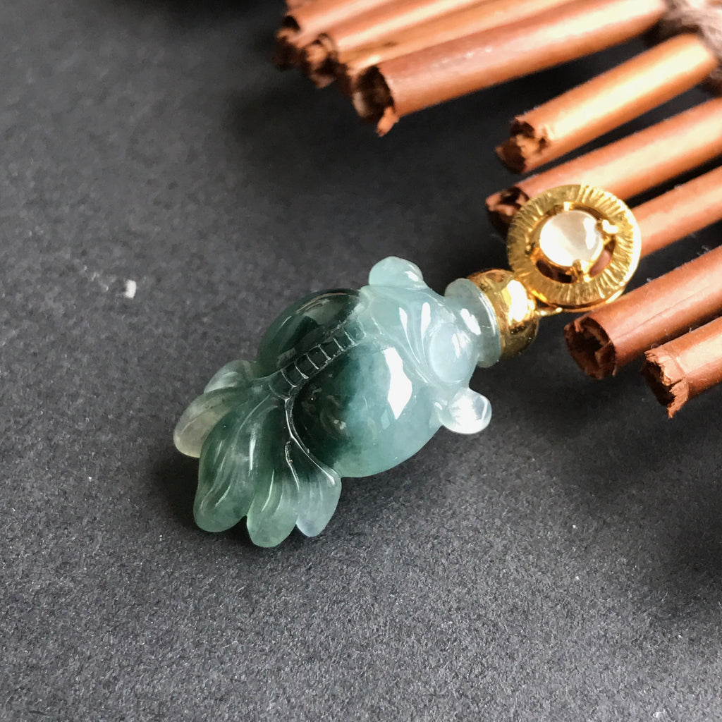 SOLD OUT: A-Grade Type A Natural Jadeite Jade Goldfish Pendant (18k Champagne Gold) No.170077
