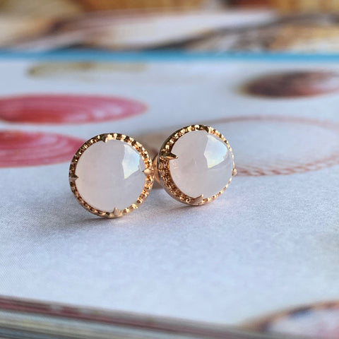 Icy Pink A-Grade Type A Natural Jadeite Jade Round Cabochon Stud Earring (18k Rose Gold) No.180103