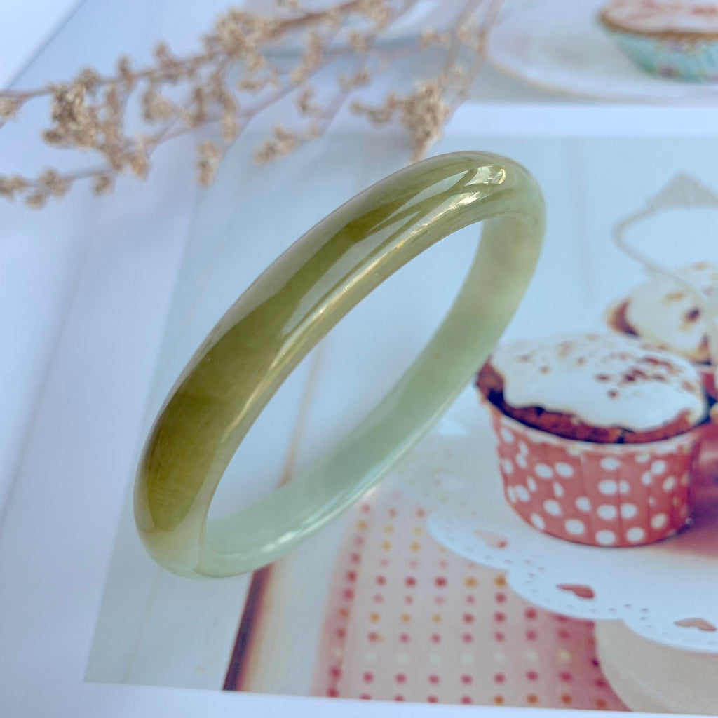 50.7mm A-Grade Jadeite Yellow And Green Modern Oval Bangle No.330002